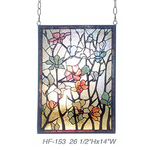 HF-153 Rural Vintage Tiffany Style Stained Church Art Glass Decorative Flowers&Branches Rectangle Window Hanging Glass Panel Suncatcher, 26.5''H14''W by Gweat Window Hanging