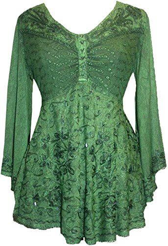 116 B Medieval Butterfly Bell Sleeve Top Blouse [Green; (Sequin Peasant Top)