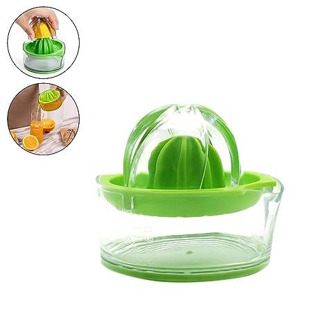 Exprimidor manual de limón con recipiente, exprimidor de naranjas, apto para lavavajillas, fabricado