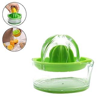 Exprimidor manual de limón con recipiente, exprimidor de naranjas, apto para lavavajillas, fabricado en trigo biodegradable, verde, capacidad 200 ml: ...