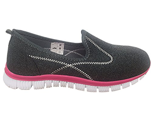 Ladies Slip Walk 3 Memory Casual Da Canvas On Grigio Taglia Dk Cushion Comfort Foam Go Rosa Pumps 8 Scarpe Ginnastica 44IwZrx
