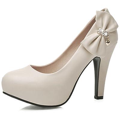 DecoStain Women's Spike High Heels Bow&Glitter Patent-Leather Pumps | Pumps