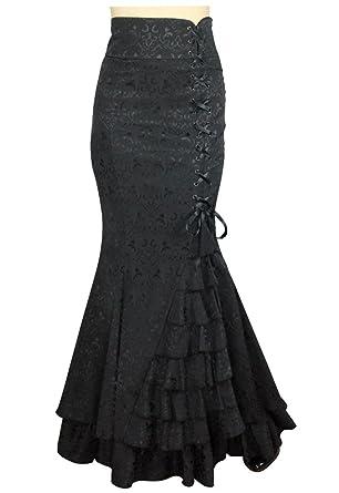 8c23bc9b5ed5c Plus Size Black Gothic Mermaid Jacquard Fishtail Ruffle Long Skirt 1X 2X 3X  4X (1X