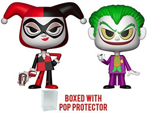 Funko Vynl: DC Comics - Harley Quinn and Joker Vinyl Figure 2-Pack (Bundled with Pop BOX PROTECTOR CASE) -