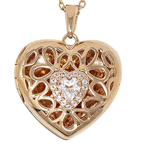 With You Lockets-Fine Sterling Silver-Custom Photo Heart Locket Necklace-That Holds Pictures for Women-The Katharine