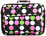 World Traveler Polka Dot 15-inch Laptop Bag, Large Dots, Black and Multicolor