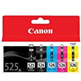 Canon Original Ink Cartridges for Pixma MG5150 / MG5250 / MG5350 / MX715 / MX885 / MX895 / ip4850 / ip4950 / IX6550 Printers - Cyan/ Magenta/ Yellow/ Black/ Large Black (Pack of 5)