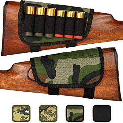 BronzeDog Portable Cartridge Buttstock for Shotgun 12 16 Gauge Adjustable Padded Cheek Rest Pouch Holder Right Handed Hunting Accessories