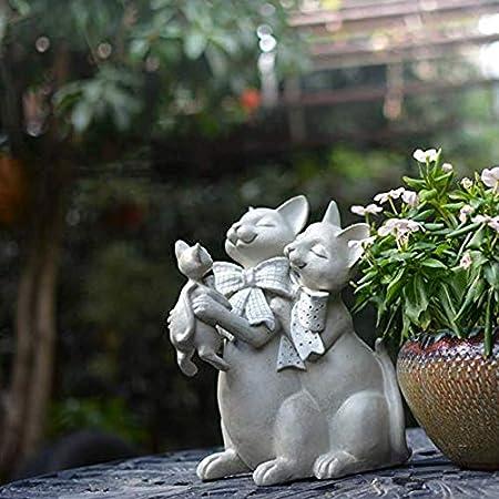 Estatuas para jardín Americana Ilustraciones del Gato De Resina Impermeable Jardín Esculturas para El Patio del Césped del Paisaje Adornos De Jardín A-Height 26cm Length 18cm Width 20cm: Amazon.es: Hogar