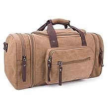 Men Oversized Canvas Duffel Shoulder Handbag Weekend Bag, Coffee
