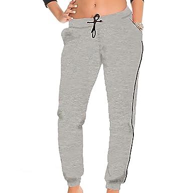 5e66c2dda5 Coco-Limon Fleece Jogger Pants for Women - White Trim, Side Pockets, Long