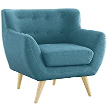 Mid Century Modern Tufted Button Linen Fabric Living Room Accent Chair (Blue)