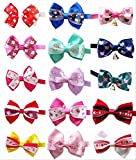 PET SHOW Valentines Lot Puppy Small Dog Bow Ties Pet Cat Bowties Collar for Valentine's Day Party Grooming Accessories Assorted Randomly Pack of 100