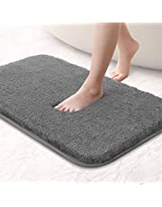 Upgraded Non Slip Bath Mat Soft Absorbent Fluffy Thick Microfiber Cozy Throw Bathroom Rugs