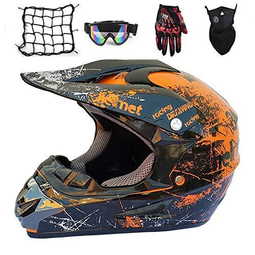 NKFDLY-Motorradhelm, Motorrad Crosshelm,Full Face MTB Helm Kinder CrossHelm Motorradhelm Kinder,Motocross Helm mit…