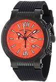 Swiss Legend Men's 10006-BB-06 Legato Cirque Chronograph Orange Textured Dial Black Silicone Watch