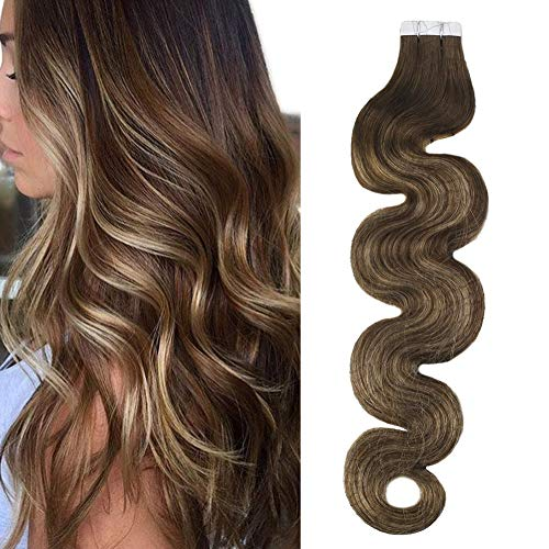 Moresso 20inch Tape in Hair Glue on Hair Body Wave Hair Extensions Real Human Hair 20PCS 50G Balayage Ombre Human Hair Extensions Skin Weft Hair Color #4 Brown Ombre to #27 Blonde Mixed #4 Semless