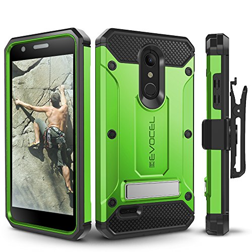 LG K30 / LG Premier Pro/LG Harmony 2 Case, Evocel Heavy Duty Protection with Glass Screen Protector, Rugged Holster, and Kickstand, Explorer Series Pro - Green