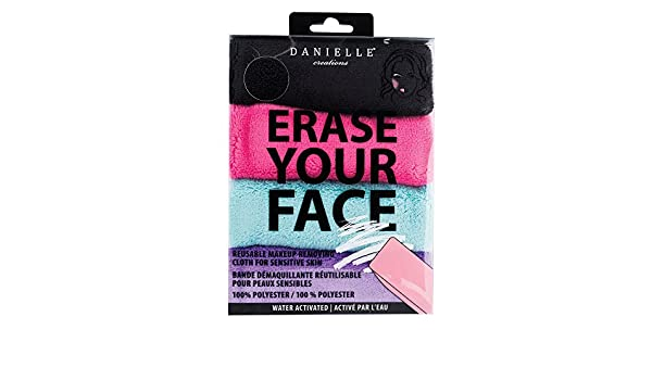 Danielle Creations Borrar Tu Cara Maquillaje Eliminar Trapos, color negro/morado/rosa/turquesa, pack de 4: Amazon.es: Belleza