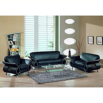 Global Furniture USA Charles 3 Piece Leather Sofa Set In Black