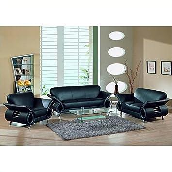 Global Furniture USA Charles 3-Piece Leather Sofa Set in Black