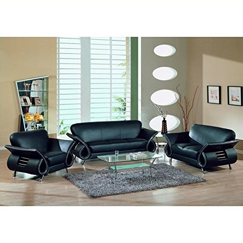 Global Furniture Black Leather (Global Furniture USA Charles 3-Piece Leather Sofa Set in Black)