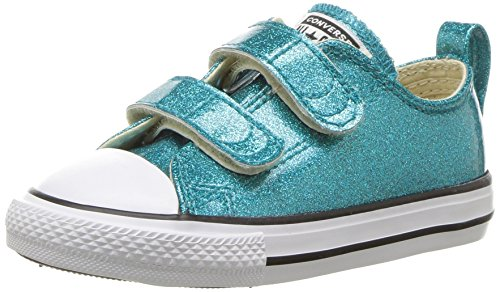 Converse Girls' Chuck Taylor All Star 2V Glitter Low Top Sneaker, Baby Blue, 5 M US -