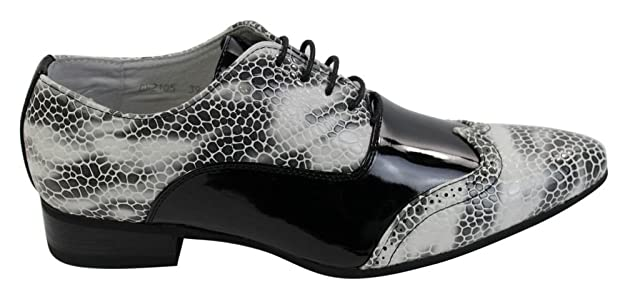 Hombres Zapatos patente italiana brillante serpiente de cuero atada negro blanco azul TRrdoP8ud