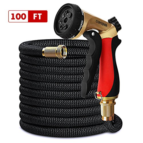 CRENOVA 100ft Garden Hose Expandable Hose with Double Latex Core, Solid Brass Connector, Expanding Garden Hose with 7 Function Metal Spray Nozzle