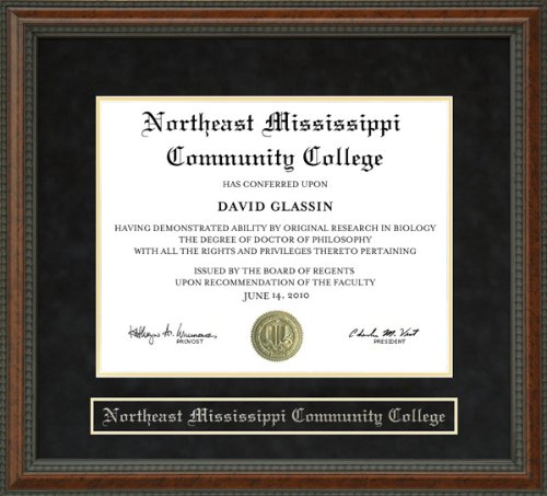 Wordyisms Northeast Mississippi Community College Walnut Burl Diploma Frame from Wordyisms