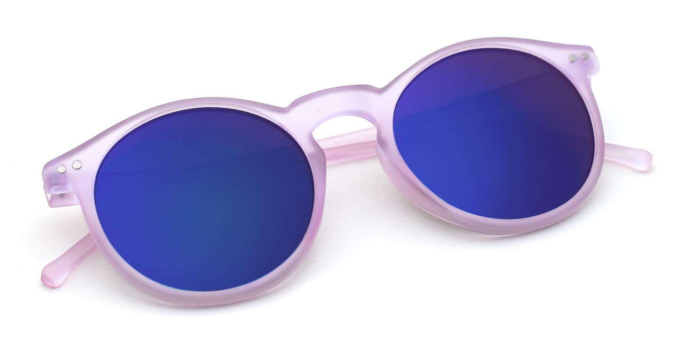TIJN Color Mirrored Lens Round Vintage Sunglasses for Girls by TIJN
