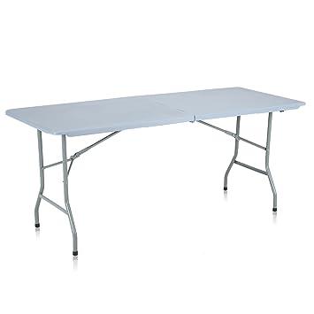 Strattore Table de Jardin Plastique Traiteur Pliante Table Buffet Picnic  Plateau Camping Pliable avec Poignée - 180 x 70 x 74 cm en Gris Clair