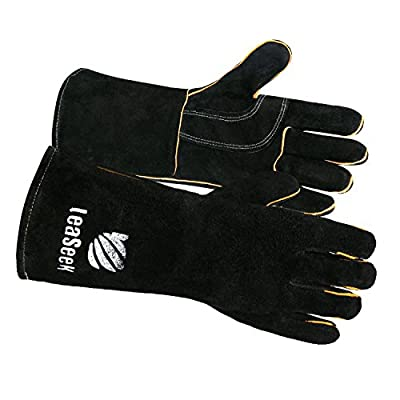 """Leather Barbecue Gloves by LeaSeek - Heat Resistant & Flame Retardant Welding Gloves & Fireplace Gloves & Grill Gloves & BBQ Gloves, Heavy duty, Black - 14 """""""