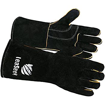 Leather Barbecue Gloves by LeaSeek - Heat Resistant & Flame Retardant Welding Gloves & Fireplace Gloves & Grill Gloves & BBQ Gloves, Heavy duty, ...