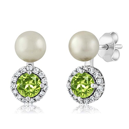 Gem Stone King 1.30 Ct Round Green Peridot Cultured Freshwater Pearl Sterling Silver Earrings