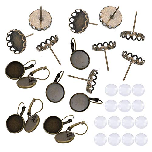 (40pcs Brass Ear Stud Leverback Hoop Earrings Components Round Tray Settings Bezel with Transparent Glass Cabochon Dome for Photo DIY Earring Making(Antique Bronze))