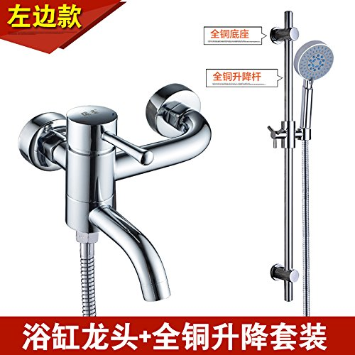 Left 边 + Big Water Kit NewBorn Faucet Kitchen Or Bathroom Sink Mixer Tap Water Mixing Valve Water Tap Hot And Cold Full Copper Bathtub Water Tap Shower Water Tap Water Heater Switch Mixing Valve Left 边 + Booster Pack