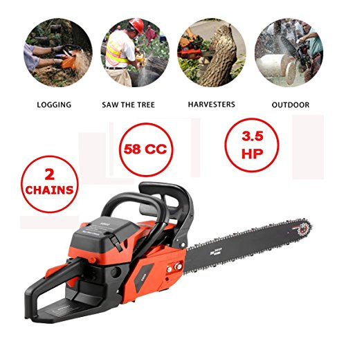 Cheap Flyerstoy 20″ 58CC Gas Chainsaw,3.5HP 2 Stroke Gas Powered Chain Saw for Cutting Wood with Auto-Tension, Chain Brake, and Automatic Oiling (58 CC_3.5 HP_Orange)