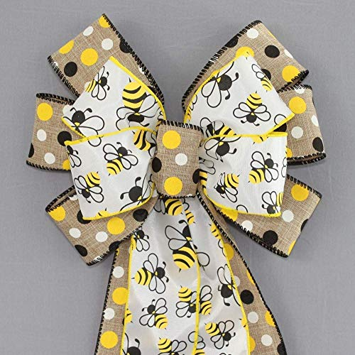 (Bumble Bees Natural Polka Dot Wreath Bow)