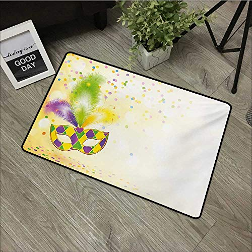 Door mat W35 x L47 INCH Mardi Gras,Festival Mask with Ornamental Feathers Colorful Dots Confetti Party,Yellow Green Purple Easy to Clean, Easy to fold,Non-Slip Door Mat Carpet ()
