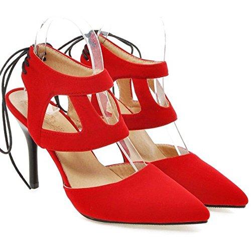 Femmes RAZAMAZA Red RAZAMAZA Pointue Femmes Pointue Sandales Sandales zRIxvv7