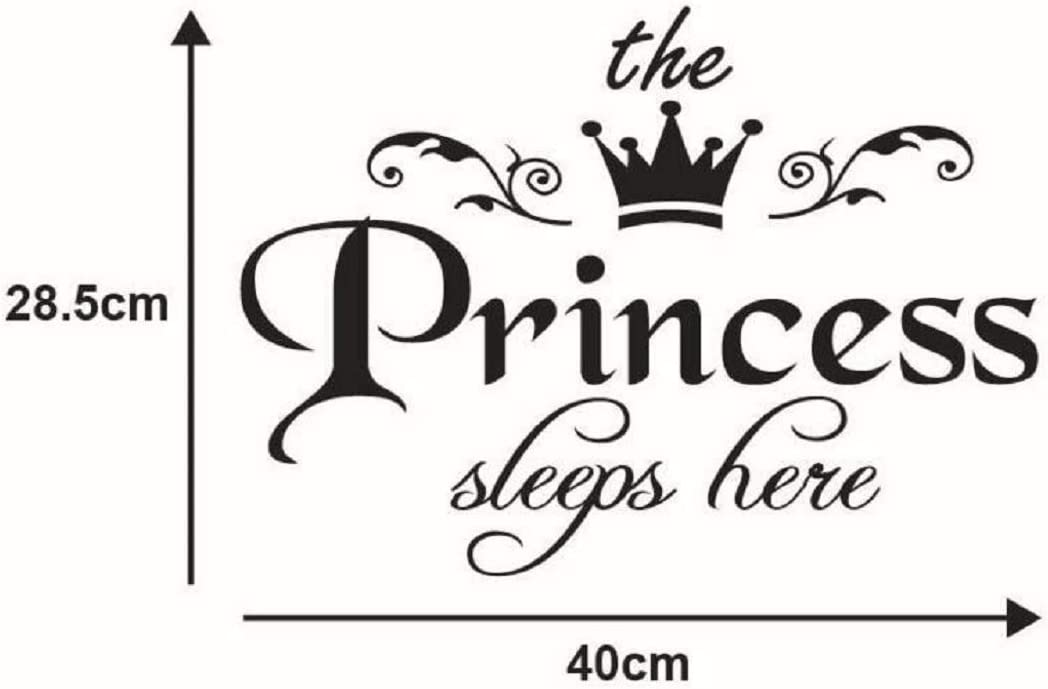 Peel and Stick Removable Little Princess Room Decoration Wall Print Stickers Pictures Mural for Girls Kids Bedroom. The Princess Sleep Here with Crown Wall Decal Wall Sticker