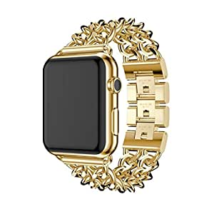YRD TECH Apple Watch, New Stainless Steel Watch Band Replacement Strap for Apple Watch Series 3 38MM,black ,Gold ,Rose Gold ,silver (Rose Gold)