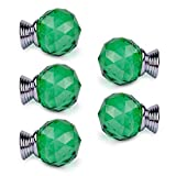 5pcs/set Crystal Round Cupboard Knob Pull Handle Drawer Jewelry Storage Box Case Handle Green
