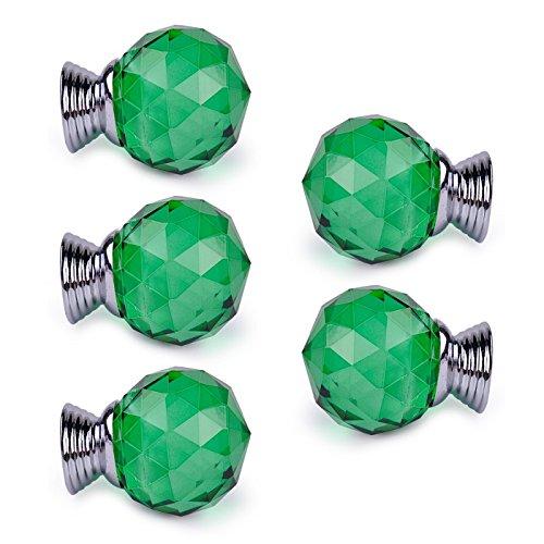 5pcs/set Crystal Round Cupboard Knob Pull Handle Drawer Jewelry Storage Box Case Handle Green