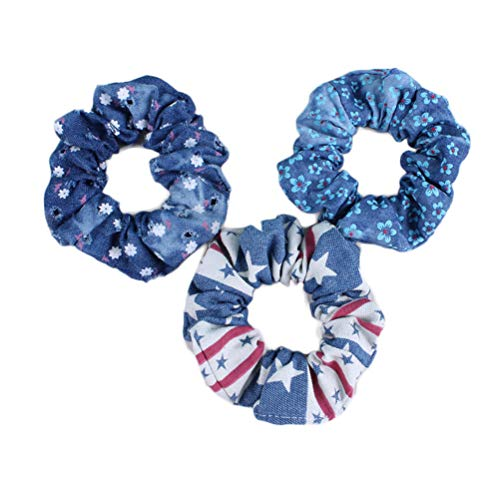 - Denim Hair Scrunchies Tie Hair Ring Loop Rope Ponytail Holders Girls Hairband JW011 (D)