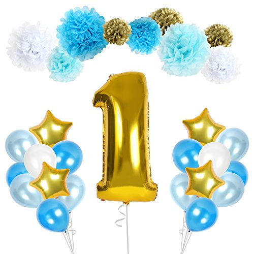 Treasures Gifted Happy First 1st Birthday Boy Decorations with Wonderland Supplies for Babys Banner Blue White and Gold Pom Poms Party Latex Foil Mylar Celebration Decor