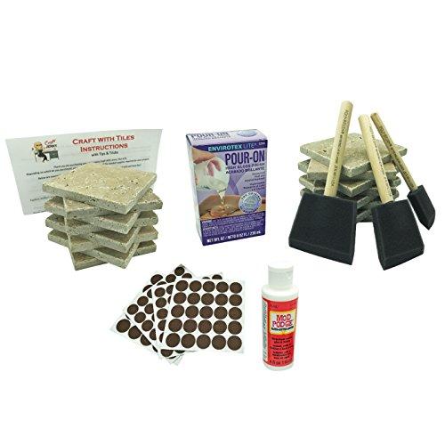 Coaster Tile Craft Kit, ULTIMATE Bundled Set w/ 16 Beige Stone Travertine Turkish Tiles 4