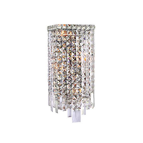 Worldwide Lighting W23622C8 Cascade 4 Light Rectangular Crystal Wall Sconce, Chrome Finish and Clear Crystal, ADA Compliant, 8