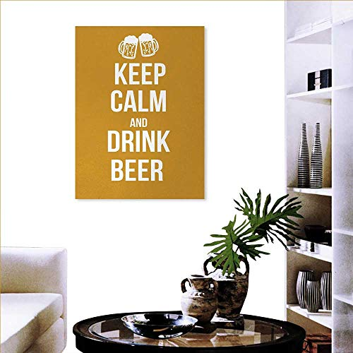 Keep Calm Modern Wall Art Living Room Decoration Drink Beer Poster Design Graphic Foamy Glasses Leisure Time Fun Pub Print Wall Art Canvas Prints 24